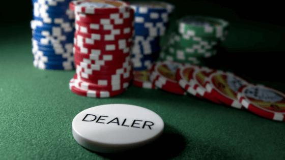 カジノ、ディーラー、練習、グッズ、道具、トランプ、カード、チップ、トレー、ボタン、オールイン、スペーサー、ディスカード、ラック、カット、レイアウト